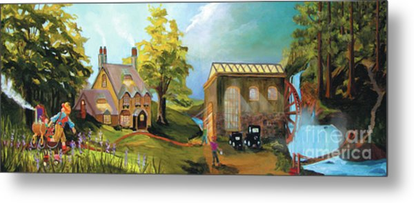 Metal Print featuring the painting Water Wheel by Donna Hall