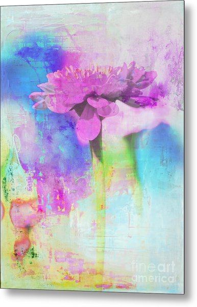 Watercolor Abstract Flower In Purple And Blue Metal Print