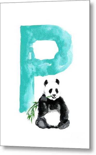 Watercolor Alphabet Giant Panda Poster Metal Print