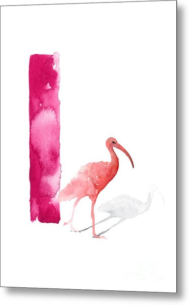 Watercolor Alphabet Pink Ibis Poster Metal Print