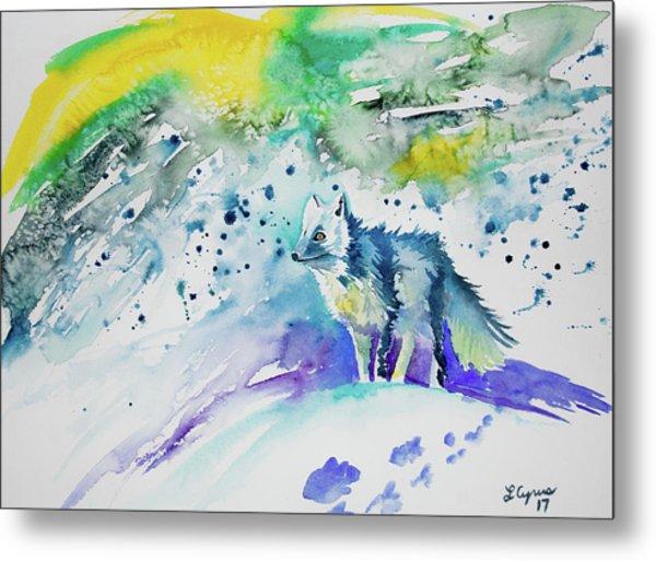 Watercolor - Arctic Fox Metal Print