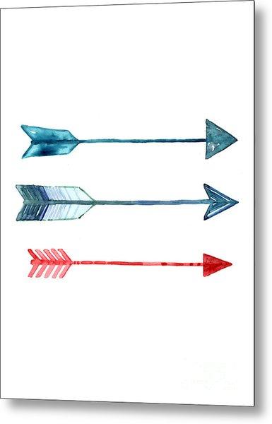 Watercolor Arrow Minimalist Painting Metal Print