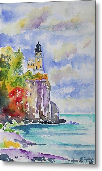 Watercolor - Autumn At Split Rock Lighthouse Metal Print