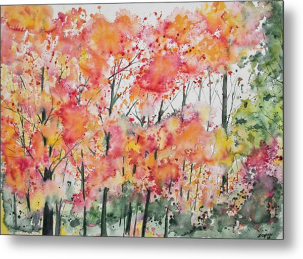 Watercolor - Autumn Forest Metal Print
