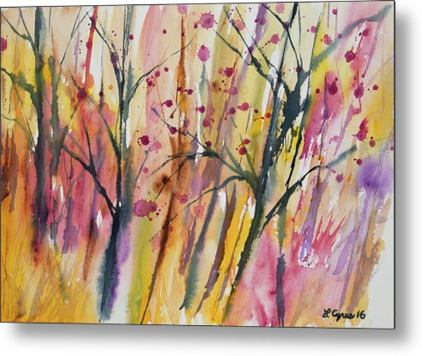 Watercolor - Autumn Forest Impression Metal Print
