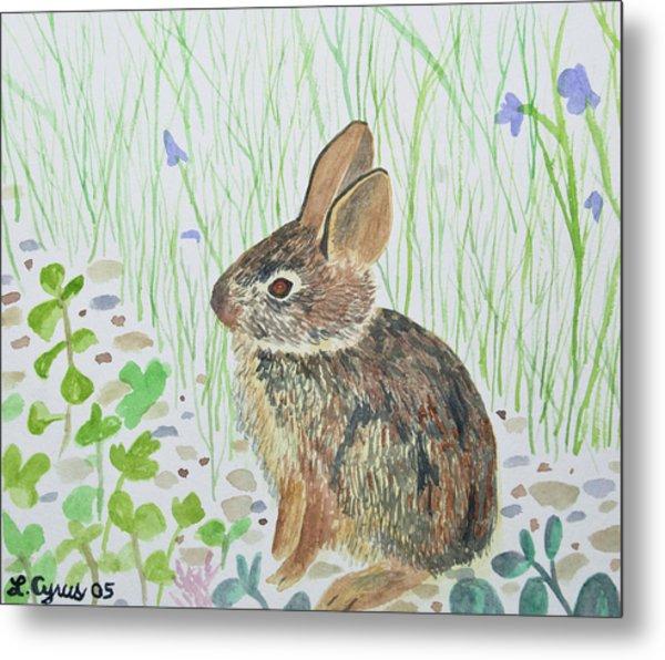 Watercolor - Baby Bunny Metal Print