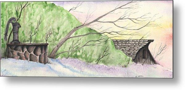Watercolor Barn Metal Print