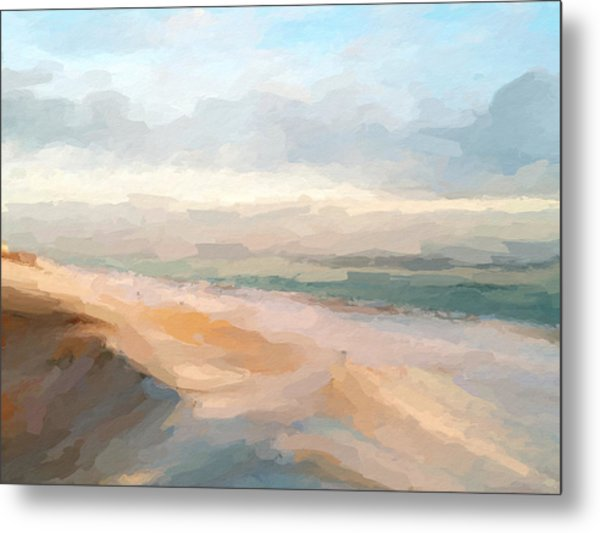 Watercolor Beach Abstract Metal Print