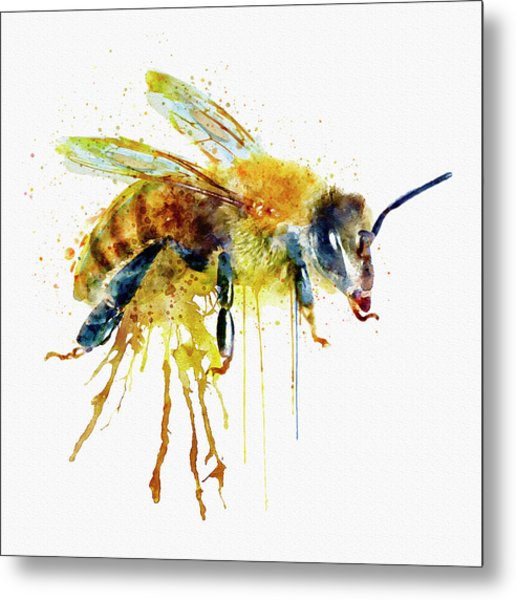Watercolor Bee Metal Print