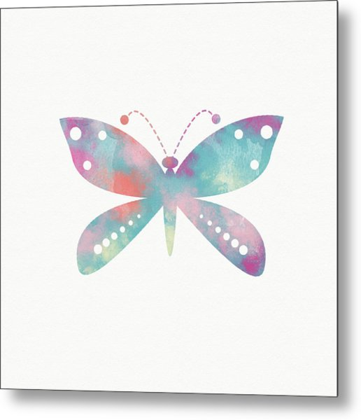 Watercolor Butterfly 3-art By Linda Woods Metal Print
