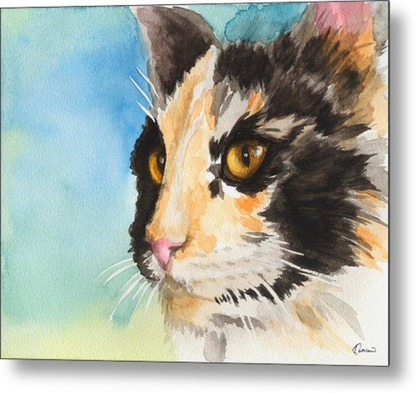 Watercolor Cat 01 Smart Cat  Metal Print