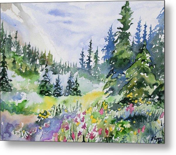 Watercolor - Colorado Summer Scene Metal Print