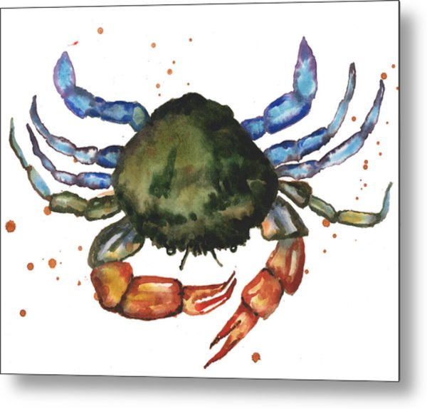Watercolor Crab Painting Metal Print