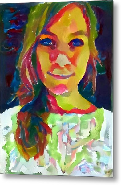 Watercolor Eve Female Portrait Painting Bathed In Sunshine And Vibrant Color Metal Print by MendyZ