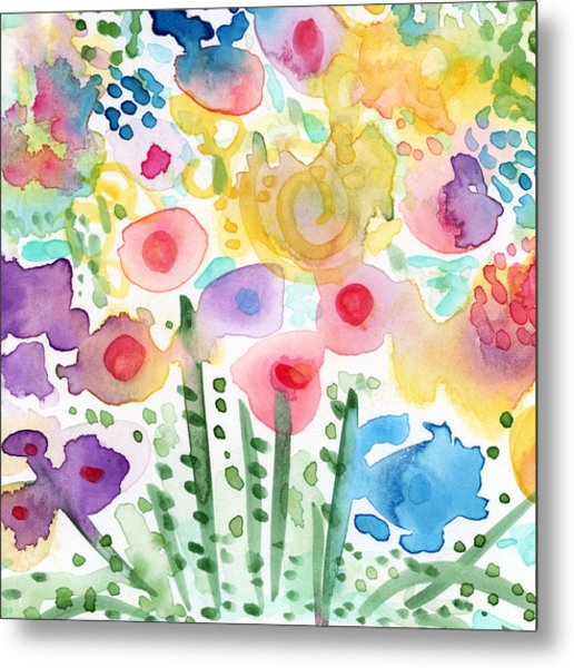 Watercolor Flower Garden- Art By Linda Woods Metal Print