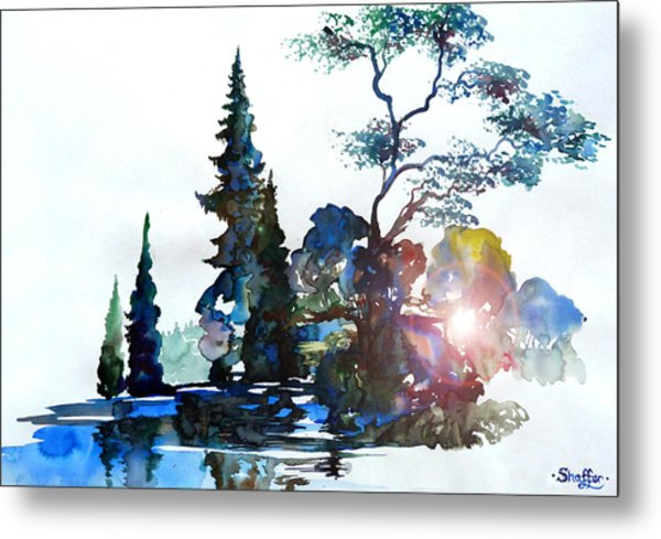 Watercolor Forest And Pond Metal Print