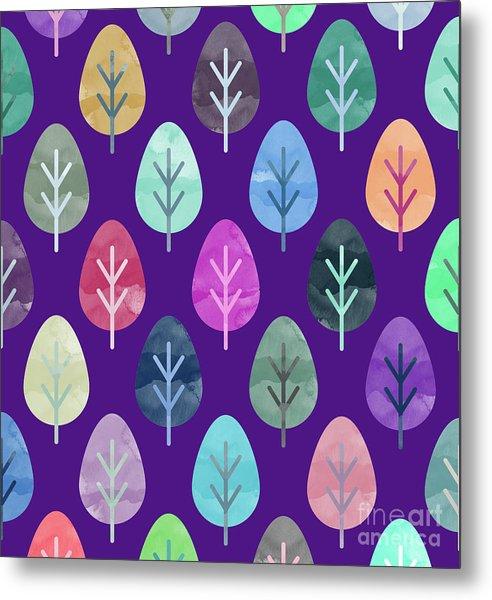 Watercolor Forest Pattern II Metal Print