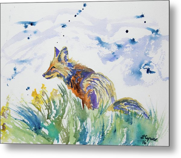 Watercolor - Fox On The Lookout Metal Print