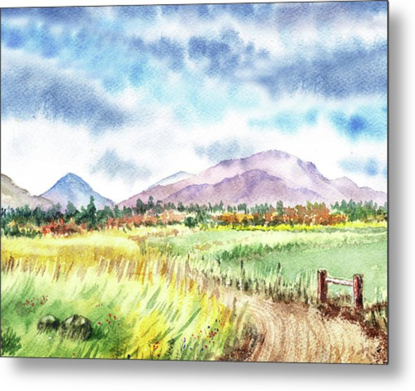 Watercolor Landscape Path To The Mountains Metal Print
