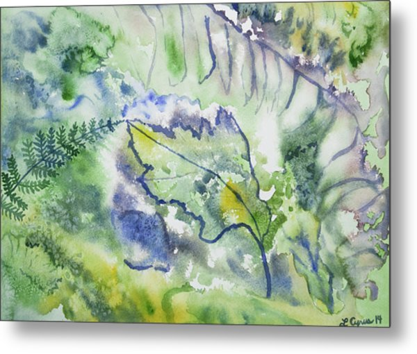 Watercolor - Leaves And Textures Of Nature Metal Print