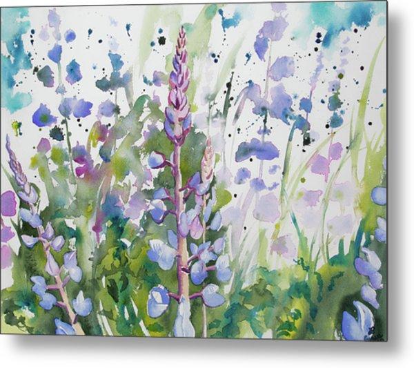 Watercolor - Lupine Wildflowers Metal Print