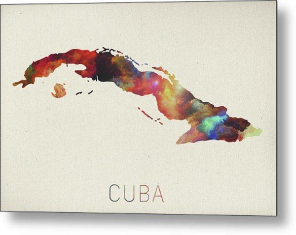 Watercolor Map Of Cuba Metal Print
