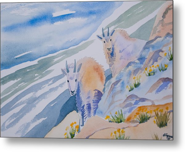 Watercolor - Mountain Goats On Quandary Metal Print