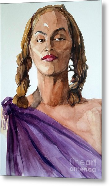 Portrait In Watercolor Of A Brooklyn Queen Metal Print