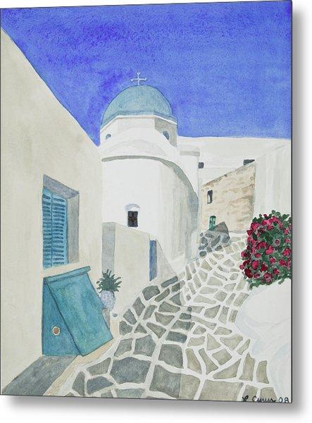 Watercolor - Paros Church And Street Scene Metal Print