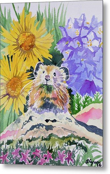 Watercolor - Pika With Wildflowers Metal Print