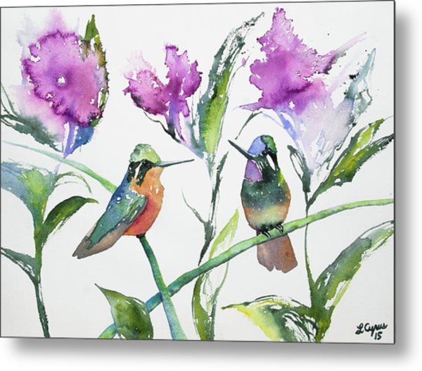 Watercolor - Purple-throated Mountain Gems And Flowers Metal Print