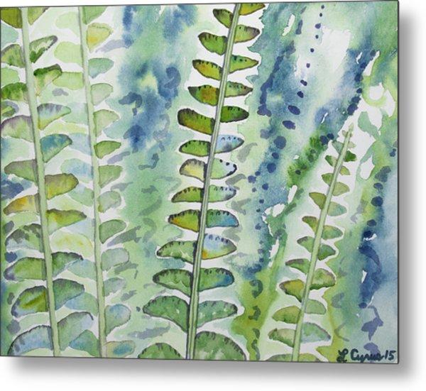Watercolor - Rainforest Fern Impressions Metal Print
