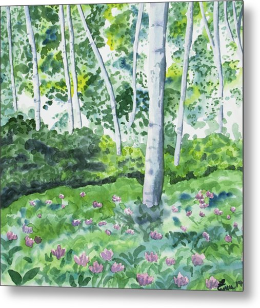 Watercolor - Spring Forest And Flowers Metal Print