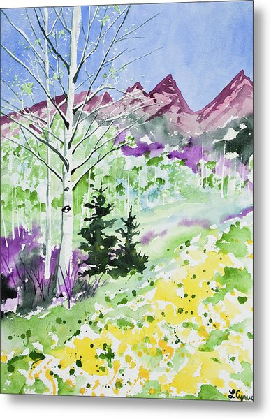 Watercolor - Springtime In The Rocky Mountains Metal Print