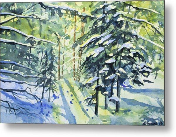 Watercolor - The Wintry Woods Metal Print
