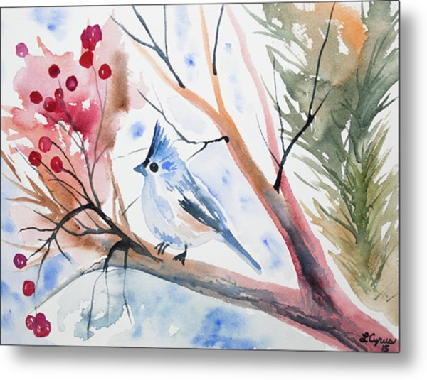 Watercolor - Tufted Titmouse With Winter Berries Metal Print