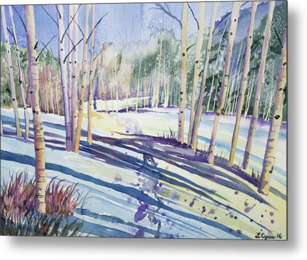 Watercolor - Walking Through The Winter Forest Metal Print