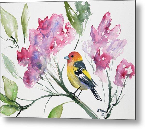 Watercolor - Western Tanager In A Flowering Tree Metal Print