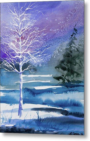 Watercolor - Winter Aspen Metal Print