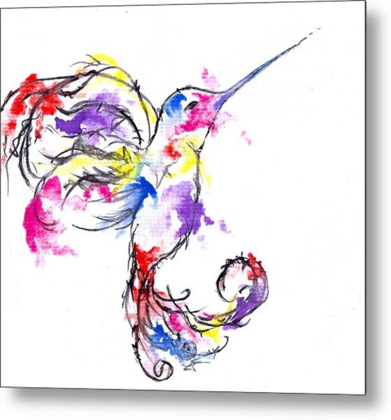 Watercolour Hummingbird Metal Print