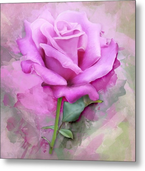 Watercolour Pastel Lilac Rose Metal Print