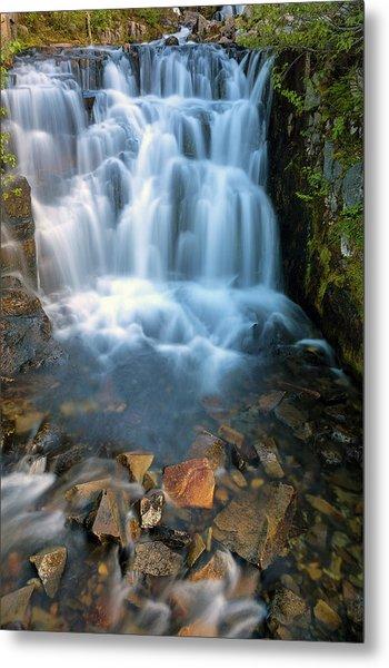 Waterfall Along Sunbeam Creek In Mt Rainier National Park Metal Print