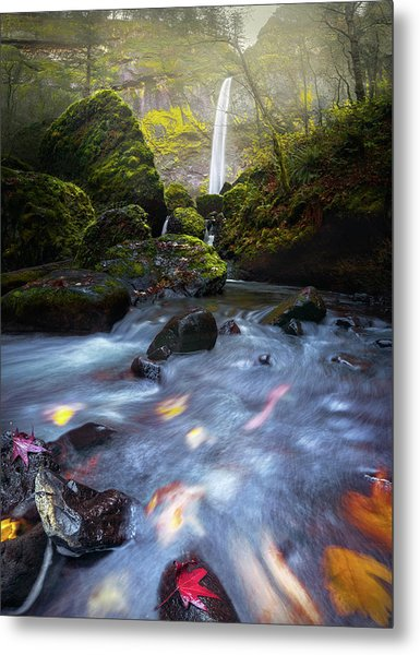 Waterfall And Stream With Fluxing Autumn Leaves Metal Print