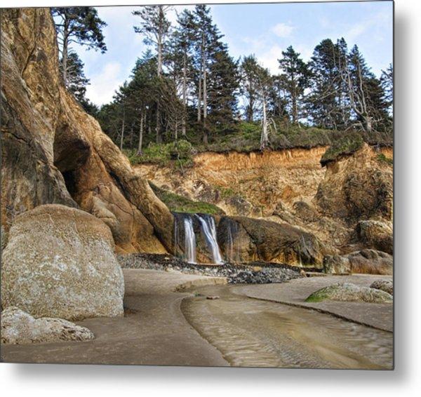 Waterfall At Hug Point State Park Oregon Metal Print