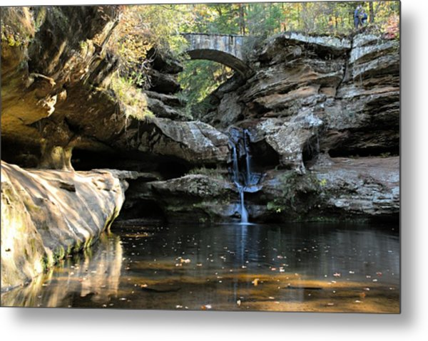 Waterfall At Old Man Cave Metal Print