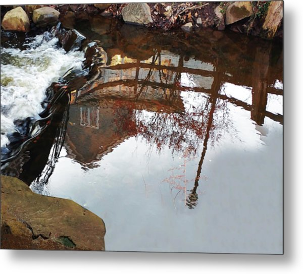 Waterfall From Calm Waters Metal Print