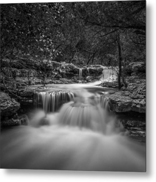 Metal Print featuring the photograph Waterfall In Austin Texas - Square by Todd Aaron