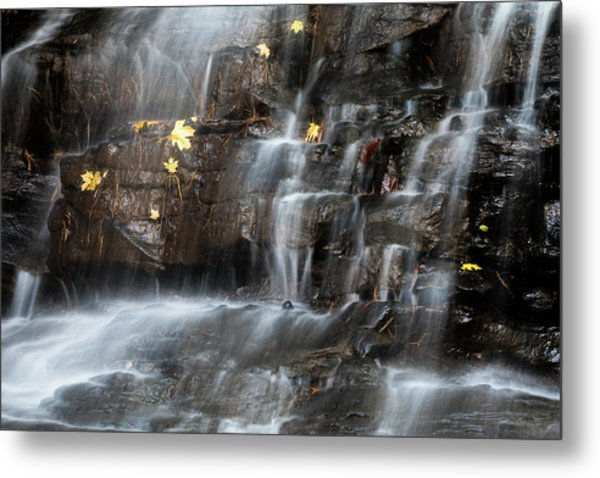 Waterfall In Autumn Sunlight Metal Print