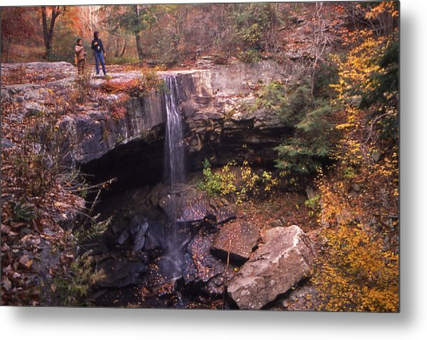 Waterfall In Fall - 1 Metal Print by Randy Muir