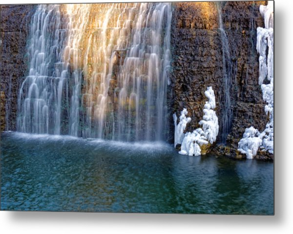 Waterfall In Winter Metal Print